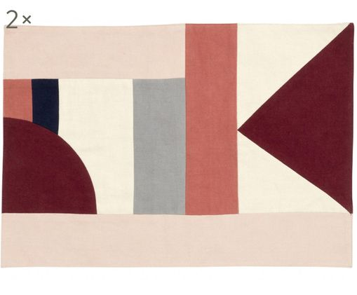 Tovaglietta Patchwork, 2 pz., Cotone, Tonalità rosse, tonalità beige, nero, Larg. 48 x Lung. 0 cm