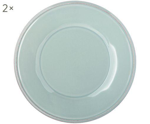 Frühstücksteller Constance in Mint, 2 Stück, Keramik, Blau,Türkis, Ø 24 cm