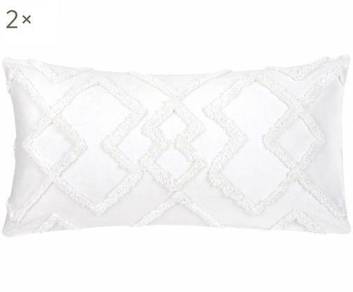 Perkal-Kissenbezüge Faith mit getufteter Verzierung, 2 Stück, Webart: Perkal, Weiß, 40 x 80 cm