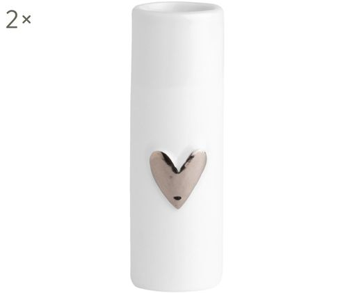 Vaso in porcellana Heart 2 pz, Porcellana, Bianco, argentato, Ø 4 x Alt. 9 cm