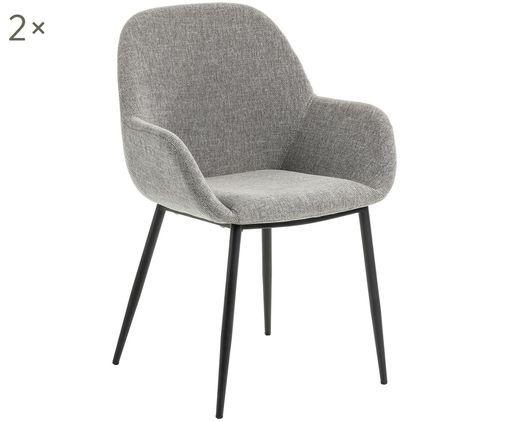 Krzesło z podłokietnikami Kona, 2szt., Tapicerka: poliester 50000 cykli w , Nogi: metal lakierowany, Szary, S 59 x G 52 cm
