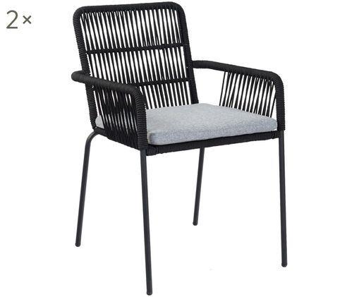 Krzesło z podłokietnikami Sando, 2 szt., Stelaż: metal malowany proszkowo, Czarny, jasny beżowy, S 55 x G 65 cm