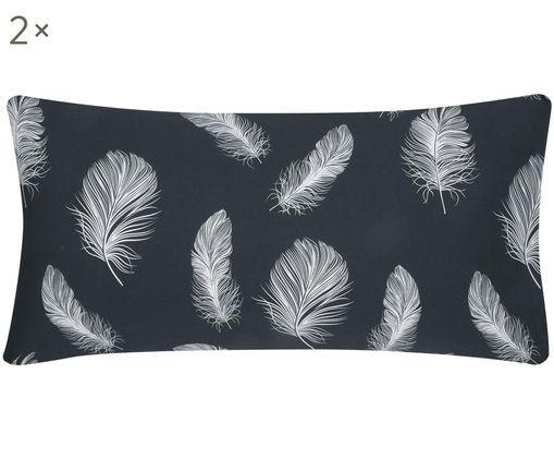 Renforcé-Kissenbezüge Cleo mit Federmuster, 2 Stück, Webart: Renforcé, Anthrazit,Weiß, 40 x 80 cm