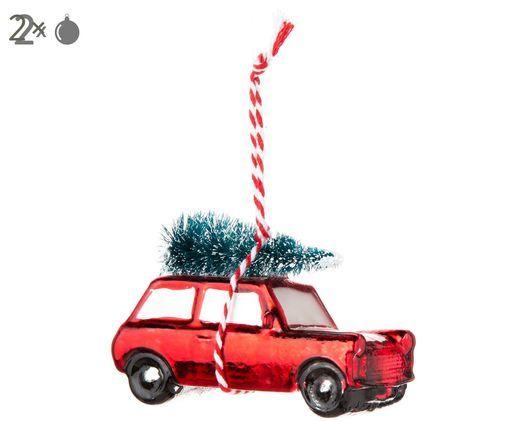 Décorations de sapin de Noël Car, 2pièces, Rouge de Noël, vert, blanc