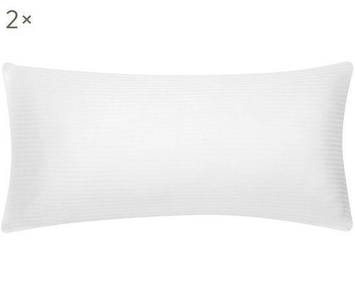 Satinstreifen-Kissenbezüge Stella in Weiß, 2 Stück, Webart: Satin, Weiß, 40 x 80 cm