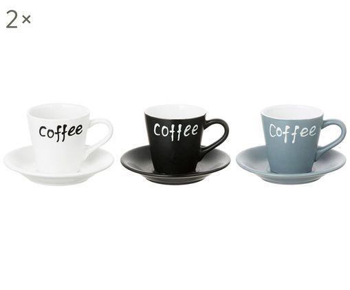 Espressotassen-Set Stone, 13-tlg., Halterung: Metall, Weiß, Schwarz, Aqua, Sondergrößen