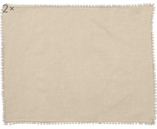 Tovagliette di lino Pom Pom, 2 pz., Lino, Beige, Larg. 35 x Lung. 45 cm