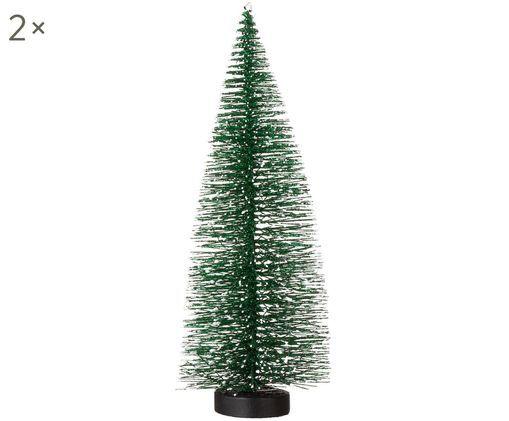 Oggetti decorativi Winter Forest, 2 pz., Materiale sintetico, filo metallico, Verde abate, nevicato, Ø 6 x A 25 cm