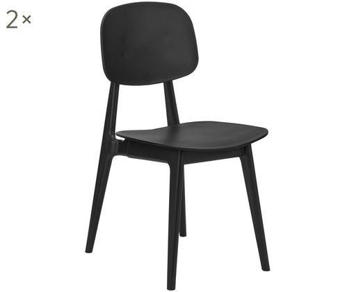 Kunststoff-Stühle Smilla, 2 Stück, Sitzfläche: Kunststoff, Beine: Metall, pulverbeschichtet, Schwarz, matt, B 43 x T 49 cm