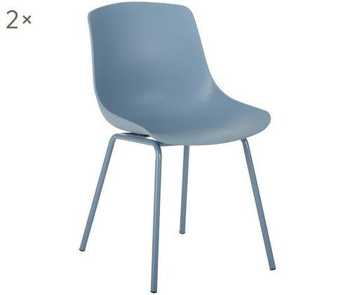 Sillas Joe, 2uds., Asiento: plástico, Patas: metal con pintura en polv, Azul, An 46 x F 53 cm