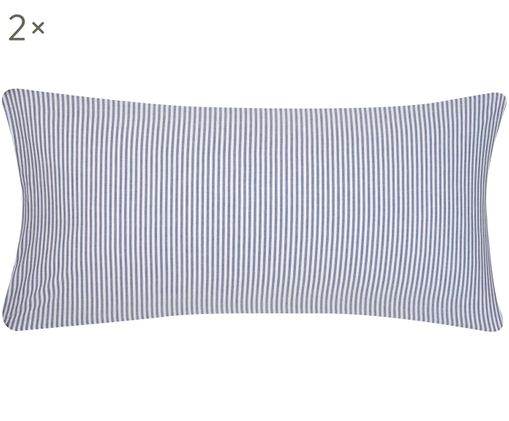 Poszewka na poduszkę z bawełny renforcé Ellie, 2szt., Biały, ciemnyniebieski, S 40 x D 80 cm