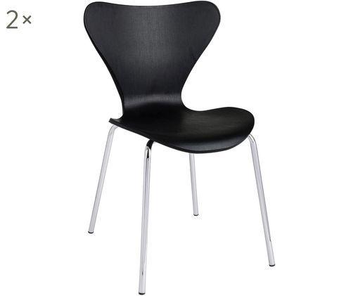Krzesło z tworzywa sztucznego do układania w stos Tessa, 2szt., Nogi: metal chromowany, Czarny, chrom, S 50 x G 50 cm