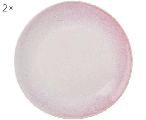 Assiettes plates artisanales Amalia, 2 pièces, Rose pastel, blanc crème