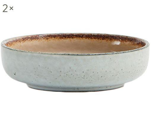 Schalen Nomimono, 2 Stück, Steingut, Grau, Greige, Ø 18 x H 6 cm