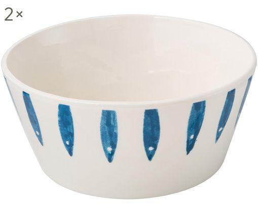 Bols Small Fish, 2 pièces, Blanc, bleu