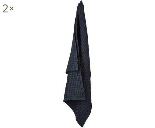 Ręcznik kuchenny z piki Wanda, 2 szt., Bawełna organiczna, Czarny, S 50 x D 70 cm