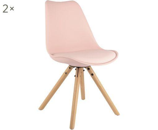 Chaises avec assise en cuir synthétique Max, 2pièces, Coque: rose Pieds: bois de hêtre