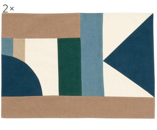 Tovagliette Patchwork, 2 pz., Cotone, Tonalità blu, tonalità beige, verde, Larg. 48 x Lung. 0 cm