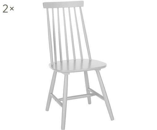 Sedia in legno Milas, 2 pz., Legno di caucciù verniciato, Grigio chiaro, Larg. 52 x Prof. 45 cm