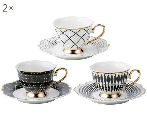 Espressotassen-Set Wonderland, 12-tlg., Porzellan, Weiß, Schwarz, Goldfarben, 90 ml