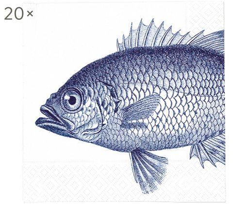 Serviettes en papier Fish Marine, 20pièces, Blanc, bleu