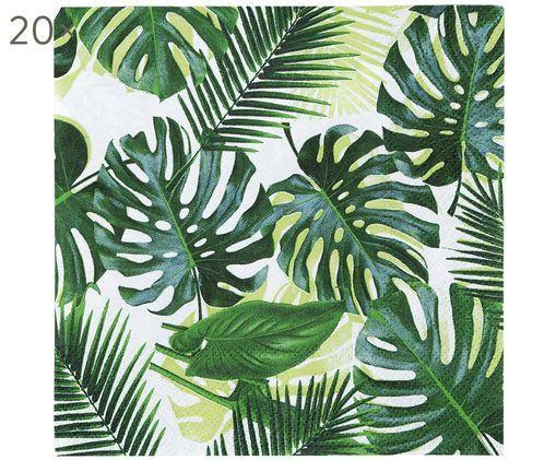 Serwetka z papieru Tropical Fiesta, 20 szt., Papier, Zielony, biały, D 25 x S 25 cm