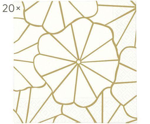 Tovaglioli di carta Code Dori, 20 pz., Carta, Bianco spezzato, dorato, Larg. 33 x Lung. 33 cm