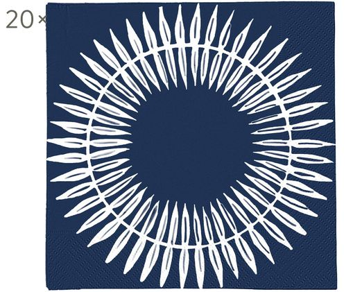 Tovaglioli di carta Skagen Leaf, 20 pz., Carta, Blu scuro, bianco, Larg. 33 x Lung. 33 cm