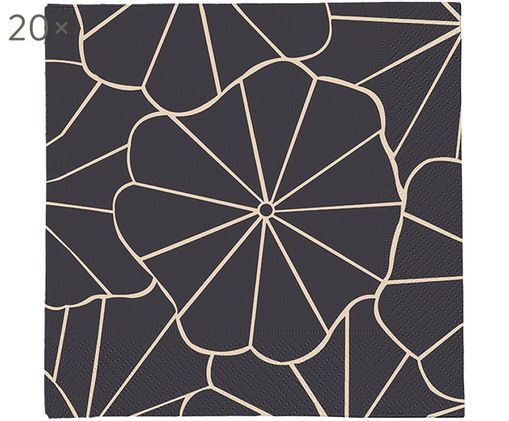 Tovaglioli di carta Code Dori, 20 pz., Carta, Antracite, beige, Larg. 33 x Lung. 33 cm