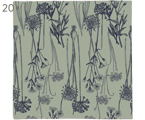 Tovaglioli di carta Sigval, 20 pz., Carta, Verde, blu scuro, Larg. 33 x Lung. 33 cm