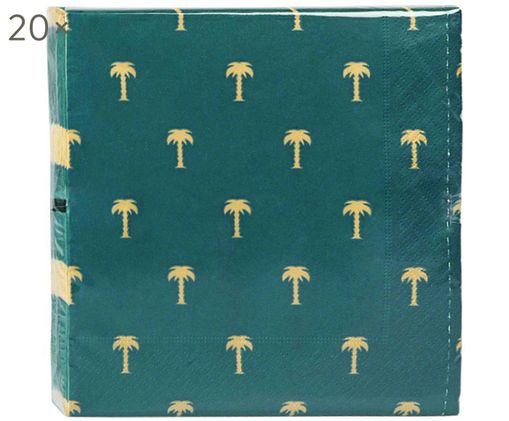 Papieren servetten Palmtree, 20 stuks, Papier, Groen, goudkleurig, 17 x 17 cm
