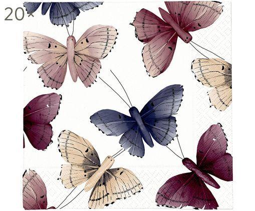 Tovaglioli di carta Butterfly, 20 pz., Lilla, beige, blu, bianco