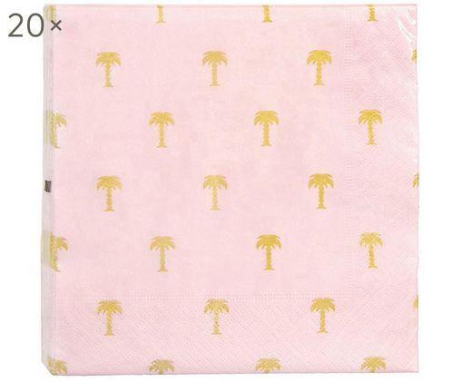 Tovagliolo di carta Palmtree, 20 pz., Carta, Rosa, dorato, Larg. 17 x Lung. 17 cm