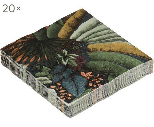 Tovagliolo di carta Fayette, 20 pz., Carta, Toni verdi, arancione, Larg. 13 x Lung. 13 cm