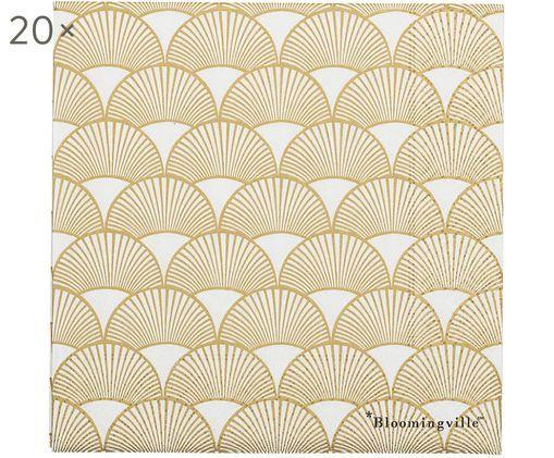 Serwetka z papieru  Sun, 20 szt., Papier, Odcienie złotego, biały, S 33 x D 33 cm