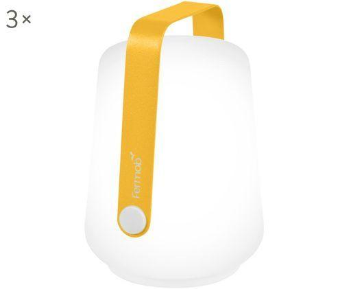 Mobiele outdoor LED lampen Balad, 3 stuks, Lampenkap: polyethyleen, Geel, Ø 10 x H 13 cm