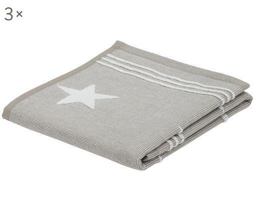 Ręcznik dla gości Stardust, 3 szt., Bawełna Należy prać w pralce w temperaturze max. 60⁰C, Taupe, S 30 x D 50 cm