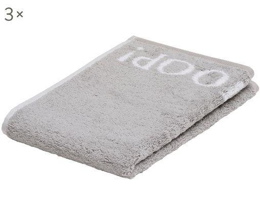 Asciugamano per ospiti Classic Doubleface 3 pz, Cotone (spugna), qualità media 536 g/m², Grigio argento, bianco, Larg. 30 x Lung. 50 cm