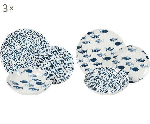 Komplet talerzy  Playa, 18-elem., Porcelana, Niebieski, Różne rozmiary