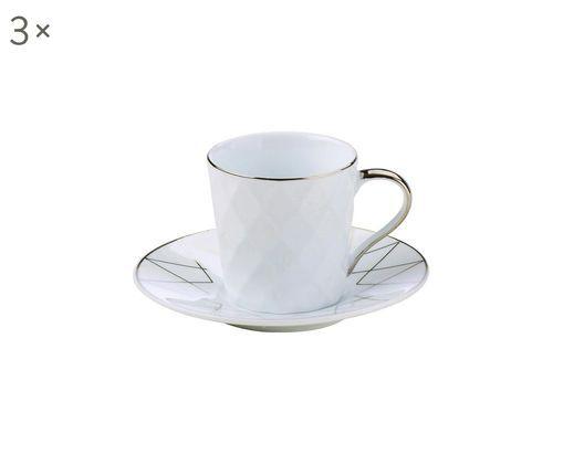 Espressotassen mit Untertassen Lux, 3 Stück, Porzellan, Weiß, Platinfarben, Ø 12 x H 6 cm
