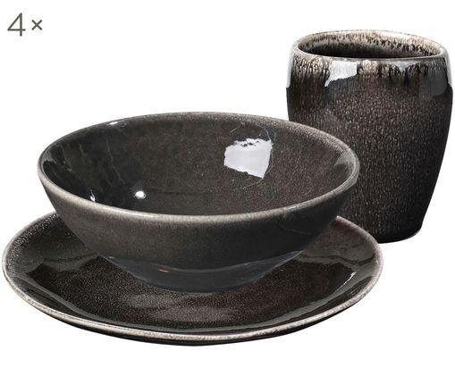 Handgemachtes Frühstücks-Set Nordic Coal aus Steingut, 4 Personen (12-tlg.)