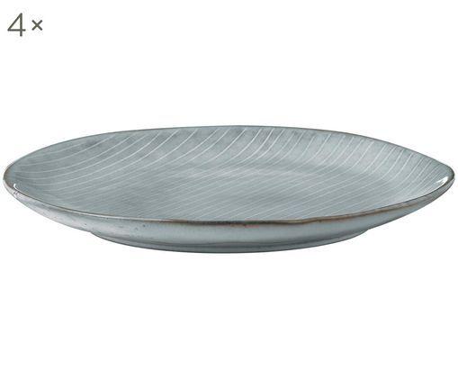 Handgemachte Frühstücksteller Nordic Sea, 4 Stück