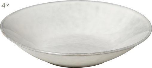 Handgemachte Suppenteller Nordic Sand aus Steingut, 4 Stück