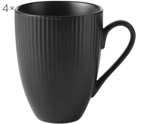 Schwarze Kaffeetassen Groove mit Rillenstruktur, 4 Stück