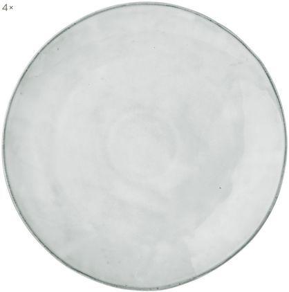 Handgemachte Platzteller Nordic Sand aus Steingut, 4 Stück
