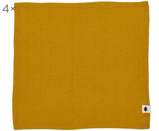 Tovagliette Saara, 4 pz., Cotone, Giallo ocra, Larg. 45 x Lung. 45 cm