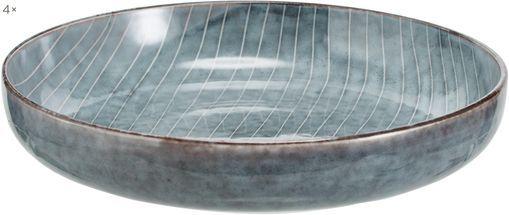 Handgemachte Schalen Nordic Sea Ø 22 cm aus Steingut, 4 Stück