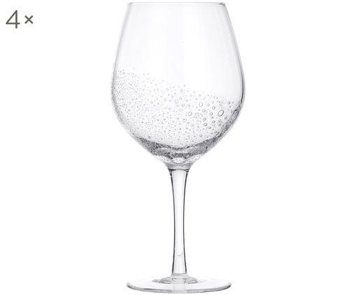 Mundgeblasene Rotweingläser Bubble, 4er-Set, Glas, mundgeblasen, Transparent mit Lufteinschlüssen, Ø 10 x H 22 cm
