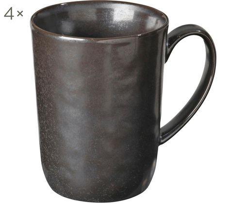 Ręcznie wykonany kubek Esrum Night, 4 szt., Kamionka szkliwiona, Szarobrązowy, matowy, srebrzysty, lśniący, Ø 12 x W 11 cm