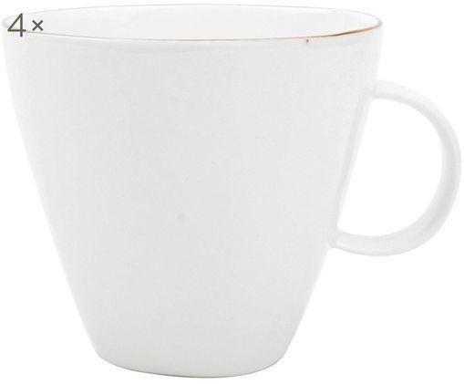 Kaffeetassen Abysse weiß/gold, 4 Stück, Porzellan, Weiß, Goldfarben, 9 x 9 cm